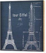 Tour Eiffel Engineering Blueprint Wood Print