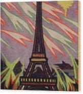 Tour Eiffel Et Ovni Wood Print