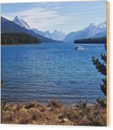 Touring Maligne Lake Wood Print