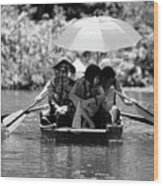 Tourist Boating Thru Tam Coc Bw Wood Print