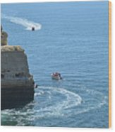 Tourist Boats And Cliffs In Algarve Wood Print