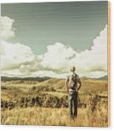 Tourist With Backpack Looking Afar On Mountains Wood Print