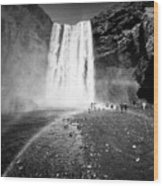 Tourists And Double Rainbow At Skogafoss Waterfall In Iceland Wood Print