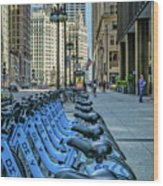Towards Wrigley Building Wood Print