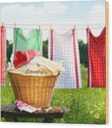 Towels Drying On The Clothesline Wood Print
