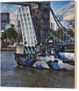 Tower Bridge And Boat Wood Print
