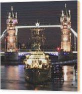 Tower Bridge And Hms Belfast Wood Print