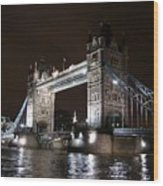 Tower Bridge By Night Wood Print