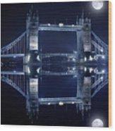 Tower Bridge In London By Night  Wood Print