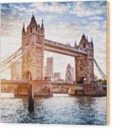 Tower Bridge In London, The Uk At Sunset. Drawbridge Opening Wood Print