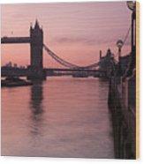 Tower Bridge Sunrise Wood Print by Donald Davis