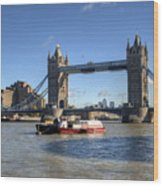 Tower Bridge With Canary Wharf In The Background Wood Print