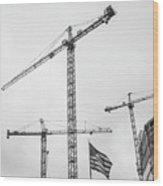 Tower Cranes Bw Construction Art Wood Print