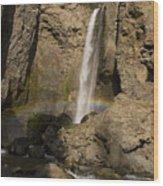 Tower Falls And Rainbow Wood Print