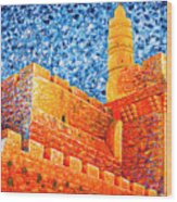 Tower Of David At Night Jerusalem Original Palette Knife Painting Wood Print