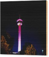 Tower Of The Americas October Night Wood Print