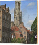 Tower Of The Belfrey From The Canal At Rozenhoedkaai Wood Print