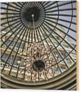 Tower Through Glass Dome In Bellagio Ceiling Wood Print