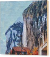 Towering Cliffs And Houses Wood Print