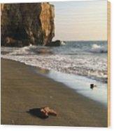 Towering Cliffs On Ocean Front Wood Print