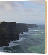 Towering Sea Cliffs In Ireland's County Clare Wood Print