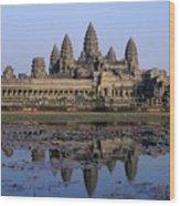 Towers Of Angkor Wat And Lake Wood Print