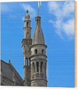 Towers Of The Town Hall In Bruges Belgium Wood Print