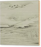 Towing A Barge In The Snow Wood Print