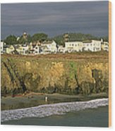 Town At The Seaside, Mendocino Wood Print