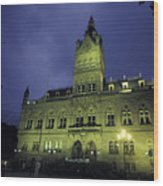 Town Hall At Night In Manchester Wood Print