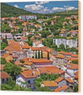 Town Of Drnis And Dalmatian Inland Panorama Wood Print