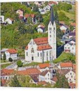 Town Of Krapina Church Vertical View Wood Print