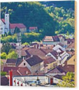 Town Of Krapina Rooftops View Wood Print