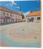Town Of Ludbreg Square Vertical View Wood Print