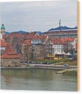 Town Of Maribor Riverfront Panoramic  Wood Print