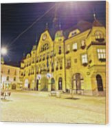 Town Of Ptuj Historic Main Square Evening View Wood Print