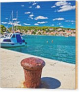 Town Of Tisno Harbor And Waterfront Wood Print