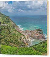 Town Of Vernazza, Cinque Terre, Italy Wood Print