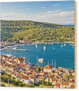 Town Of Vis Panorama From Hill Wood Print