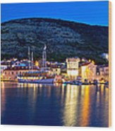 Town Of Vis Waterfront Evening Panorama Wood Print