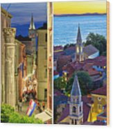 Town Of Zadar Evening And Sunset Travel Collage Wood Print