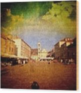Town Square #edit - #hvar, #croatia Wood Print by Alan Khalfin