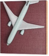 Toy Airplane Over Red Book Cover Wood Print