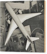 Toy Airplane Vintage Travel Wood Print