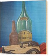 Toy Car And Bottles Wood Print