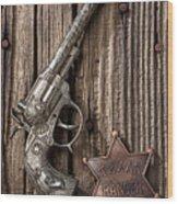 Toy Gun And Ranger Badge Wood Print