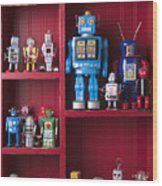 Toy Robots On Shelf  Wood Print by Garry Gay