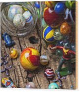 Toys And Marbles Wood Print by Garry Gay