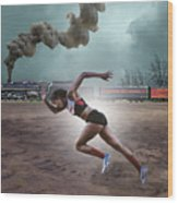 Track And Field Wood Print