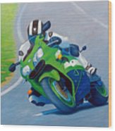 Track Day - Kawasaki Zx9 Wood Print
